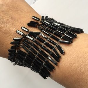 Black glass beads vintage bracelet